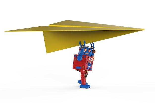 Concetto di tecnologia aeronautica con robot di rendering 3d che tiene aereo di carta