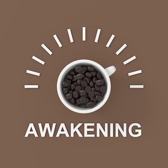 Testo di risveglio con caffè. disegno di sfondo 3d. rendering 3d.