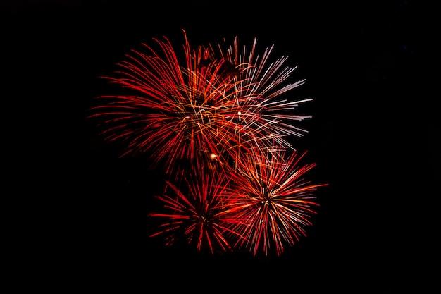Fuochi d'artificio festivi isolati impressionanti su un'oscurità.