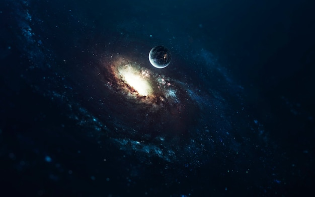 Fantastica galassia a spirale. spazio profondo, bellezza del cosmo infinito. carta da parati di fantascienza. elementi di questa immagine forniti dalla nasa