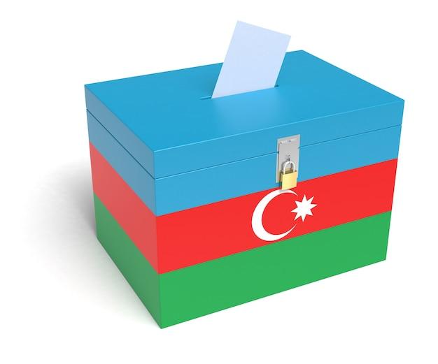 Urna bandiera dell'azerbaigian. sfondo bianco isolato. rendering 3d.