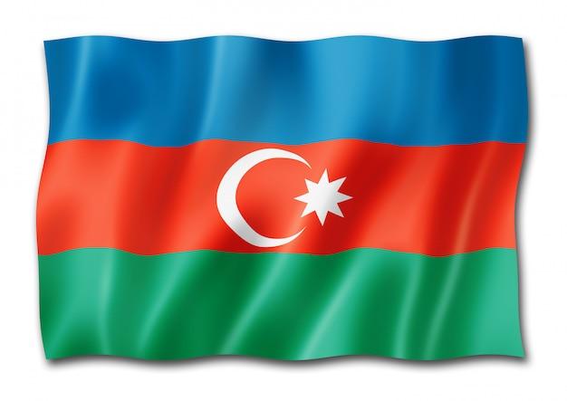 Bandiera azera isolata su bianco