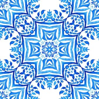 Azulejo blu e bianco mano piastrelle disegnate seamless arabesco ornamentale pittura ad acquerello pattern.