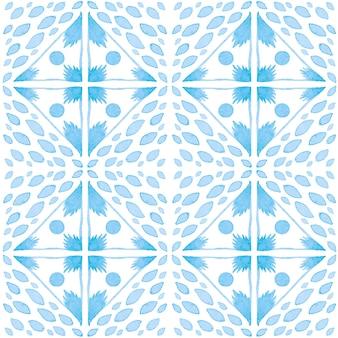 Modello senza cuciture dell'acquerello di azulejo. piastrelle di ceramica tradizionali portoghesi. fondo astratto disegnato a mano. opere d'arte ad acquerello per tessuti, carta da parati, stampa, design di costumi da bagno. modello azulejo blu.
