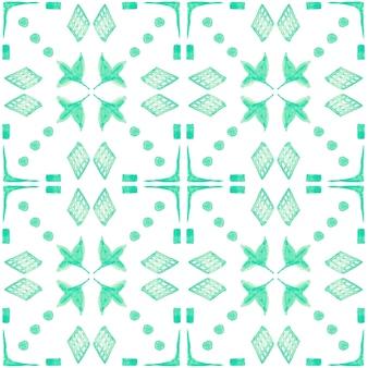 Modello senza cuciture dell'acquerello di azulejo. piastrelle di ceramica tradizionali portoghesi. fondo astratto disegnato a mano. opere d'arte ad acquerello per tessuti, carta da parati, stampa, design di costumi da bagno. modello azulejo verde.