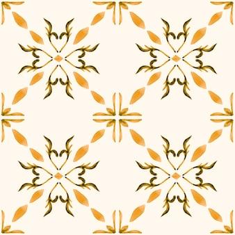 Modello senza cuciture dell'acquerello di azulejo. piastrelle di ceramica tradizionali portoghesi. fondo astratto disegnato a mano. opere d'arte ad acquerello per tessuti, carta da parati, stampa, design di costumi da bagno. modello azulejo arancione.