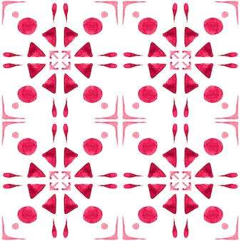 Modello senza cuciture dell'acquerello di azulejo. piastrelle di ceramica tradizionali portoghesi. fondo astratto disegnato a mano. opere d'arte ad acquerello per tessuti, carta da parati, stampa, design di costumi da bagno. modello azulejo rosso.