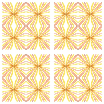 Modello senza cuciture dell'acquerello di azulejo. piastrelle di ceramica tradizionali portoghesi. fondo astratto disegnato a mano. opere d'arte ad acquerello per tessuti, carta da parati, stampa, design di costumi da bagno. modello azulejo giallo.