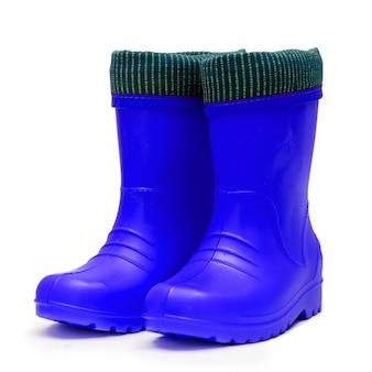 Stivali di gomma blu baby con risvolto per un tempo piovoso umido