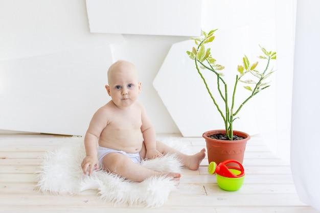 Neonato 8 mesi seduto vicino alla finestra e guardando un fiore, cura delle piante, fiori d'innaffiatura del bambino a casa