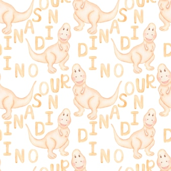 Modello baby dino, carta di dinosauro beige acquerello kids, modello senza cuciture carino t-rex, stegosaurus boy dinosaur ripetere lpaper, safari animal print, tessile per bambini