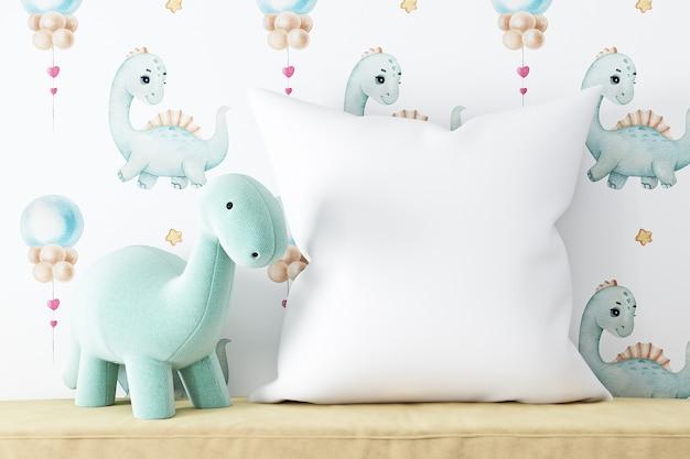 Modello di cuscino per bambini su sfondo di peluche di dinosauro