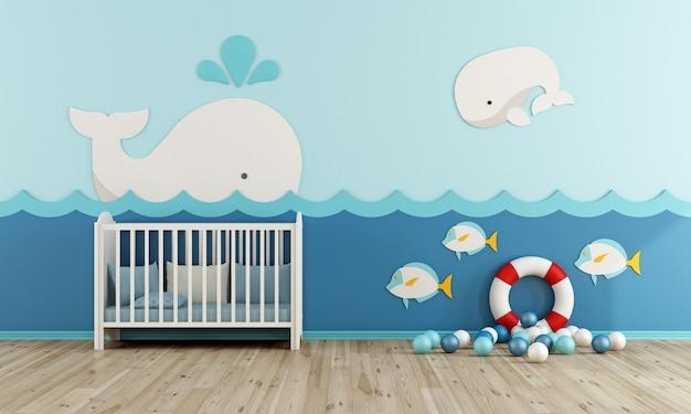 Baby room con culla, salvagente e palline liyyele su pavimento in legno