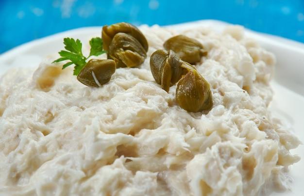Baccala mantecato alla veneziana, merluzzo alla veneziana. cucina italiana.