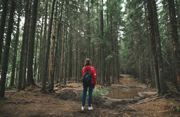 Indietro di una ragazza durante un'escursione, si trova su uno sfondo di sentieri forestali con una pozzanghera