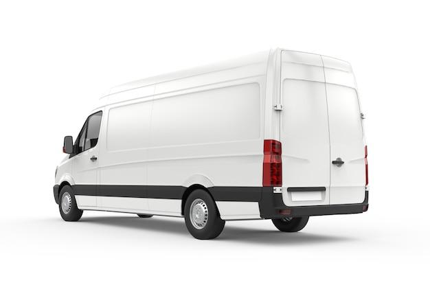 Vista posteriore e laterale di un furgone, mockup
