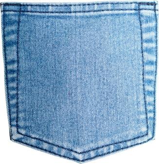 Tasca posteriore di jeans blu vecchi e consumati su sfondo bianco