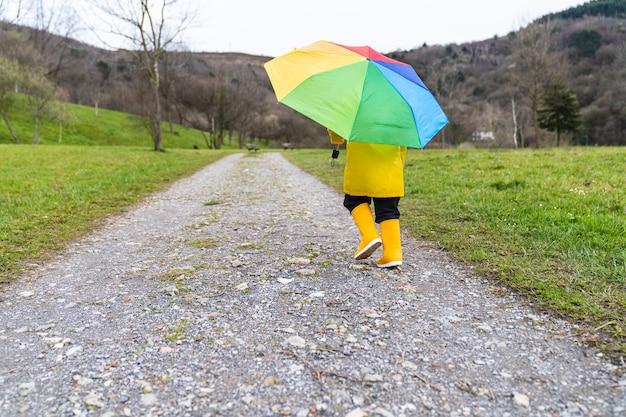 Indietro ritratto di un bambino che cammina in lontananza attraverso un prato o un sentiero nel bosco che indossa un impermeabile giallo, stivali da pioggia gialli e tiene in mano un ombrello colorato