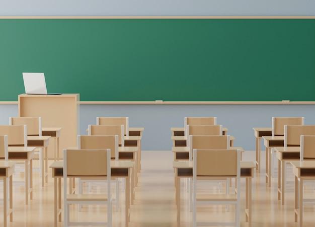 Di nuovo al concetto della scuola, aula senza studente con le sedie e tavole in città universitaria, rappresentazione 3d