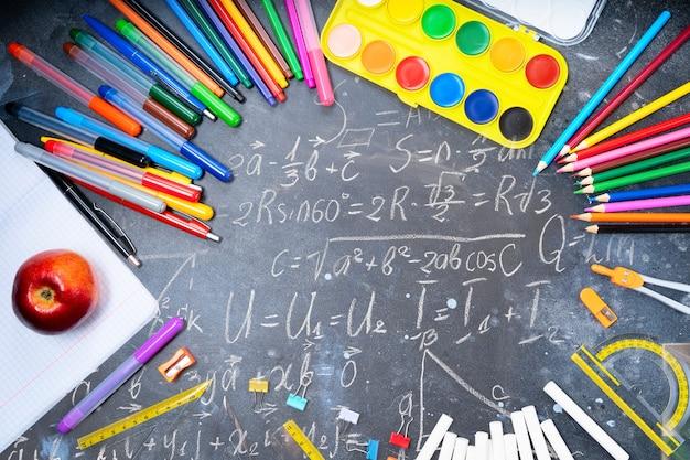 Torna al concetto di scuola, cornice con materiale scolastico colorato su sfondo lavagna con formule matematiche