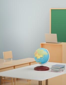 Di nuovo al concetto della scuola, globo del mondo sulla tavola in aula senza studente con le sedie e tavole in città universitaria, rappresentazione 3d