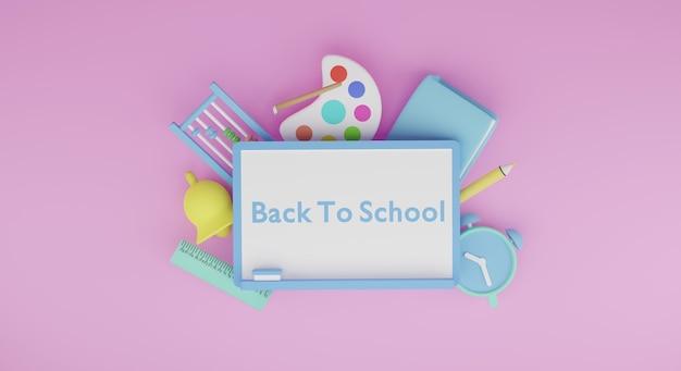 Torna a scuola oggetti 3d render