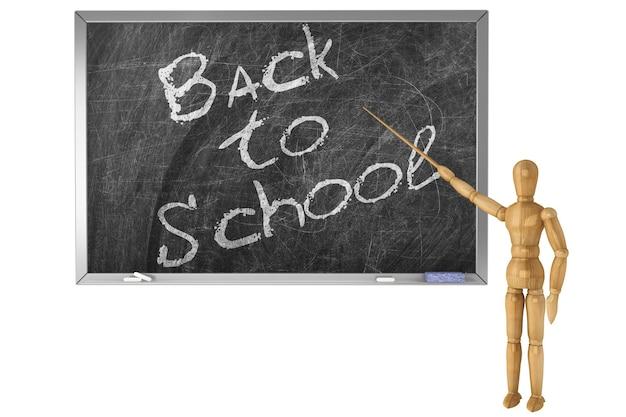 Ritorno a scuola segno scritto a mano con gesso fittizio di legno su una lavagna della scuola