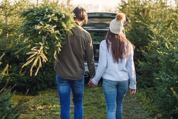 Vista posteriore di una bella giovane coppia che porta un bellissimo albero di natale alla loro auto tra le piantagioni di abeti.