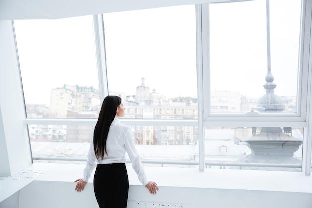 Vista posteriore della donna d'affari in piedi vicino alla finestra in ufficio