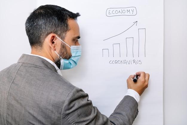 Vista posteriore di un lavoratore aziendale che disegna con un pennarello un grafico in aumento dell'economia dopo la pandemia di coronavirus covid