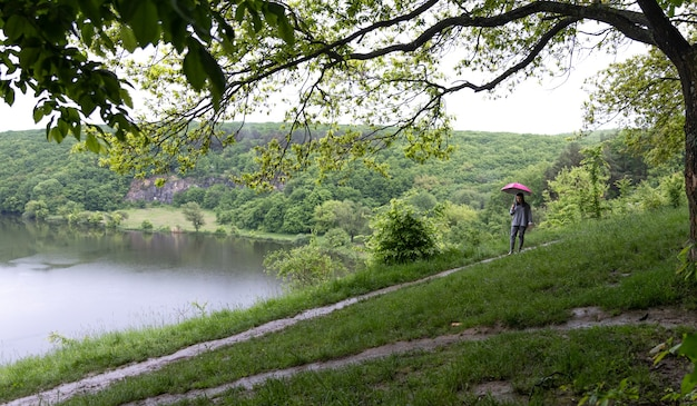 Vista posteriore di una ragazza sotto un ombrello durante una passeggiata nella foresta vicino al lago in caso di pioggia