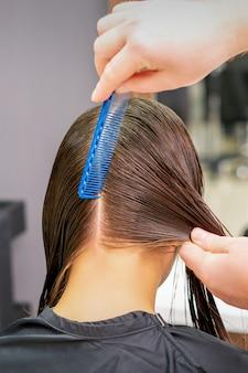 Vista posteriore delle mani di parrucchiere separare i capelli lunghi della giovane donna nel salone di parrucchiere