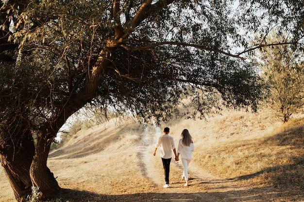 Vista posteriore dell'uomo e della donna stanno camminando nel parco vicino al grande albero.