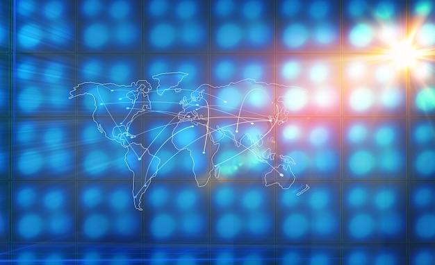 Sfondo con linee di collegamento attraverso continenti e paesi