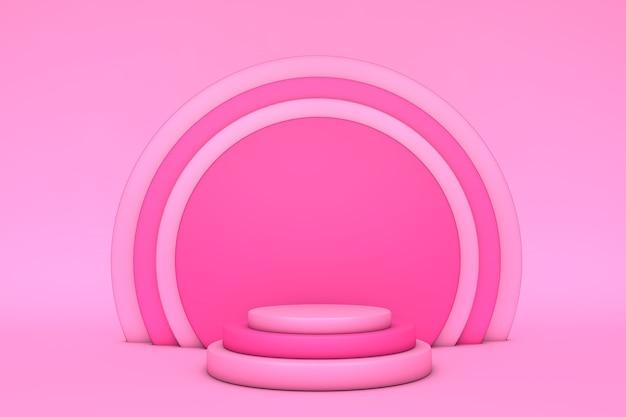 Sfondo 3d rendering rosa con podio e scena minima del prodotto. forma geometrica astratta rosa brillante.