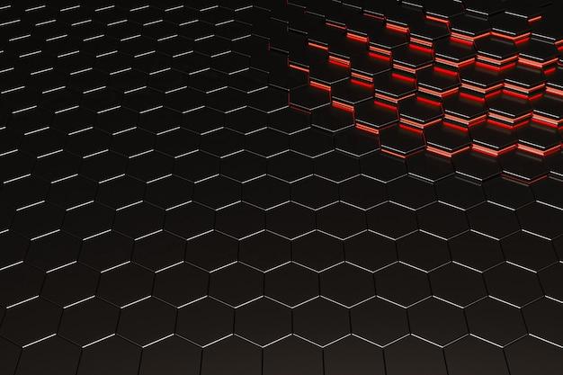 Sfondo di esagoni in metallo nero con linee luminose rosse in un angolo. rendering 3d