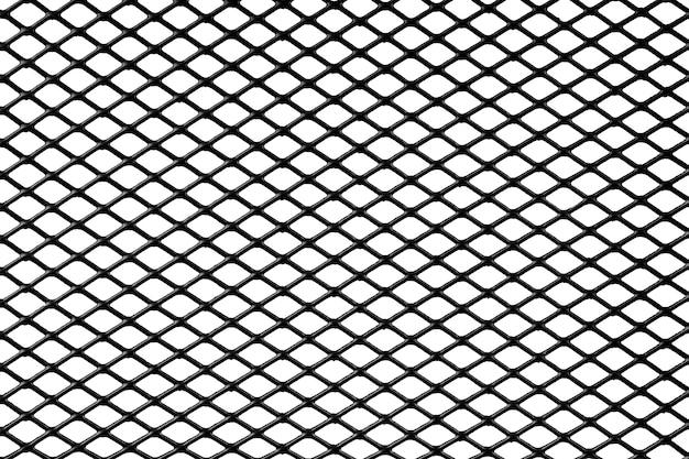 Sfondo rete metallica nera isolare su sfondo bianco