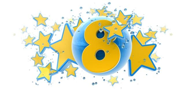 Sfondo nei colori blu e gialli con gocce di stelle e sfere e il numero otto