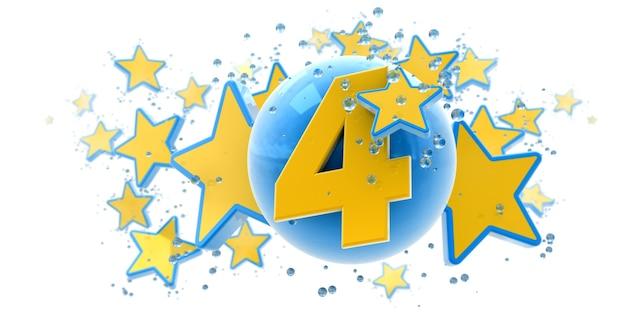 Sfondo nei colori blu e gialli con gocce di stelle e sfere e il numero quattro