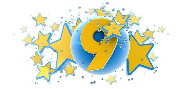 Sfondo nei colori blu e gialli con gocce di stelle e sfere e il numero nove