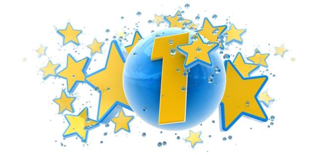 Sfondo nei colori blu e gialli con gocce di stelle e sfere e il numero uno
