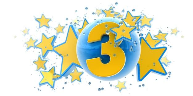 Sfondo nei colori blu e gialli con gocce di stelle e sfere e il numero tre