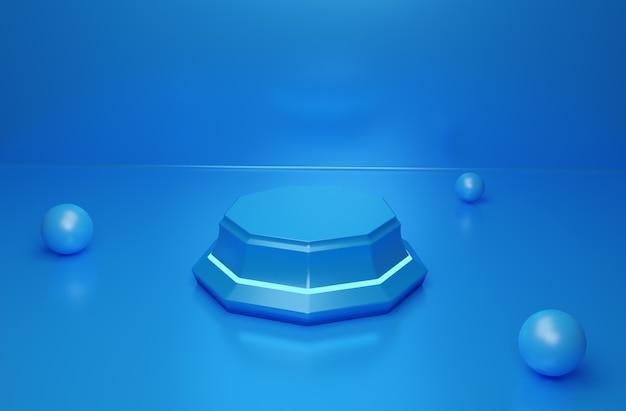 Sfondo per il display del prodotto cosmetico sfondo di moda con scala blu rendering 3d foto premium