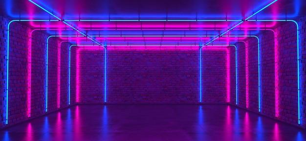 Sfondo di una stanza vuota con pareti in mattoni e luce al neon. pareti in mattoni, pavimento in cemento. raggi al neon e bagliore.