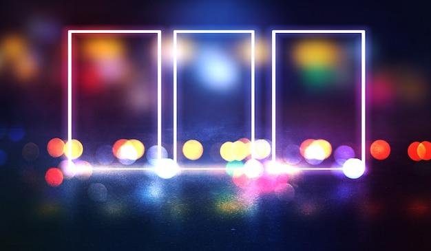 Sfondo scena vuota, stanza. riflessione su asfalto bagnato, cemento. luci sfocate al neon. figura al neon al centro, fumo