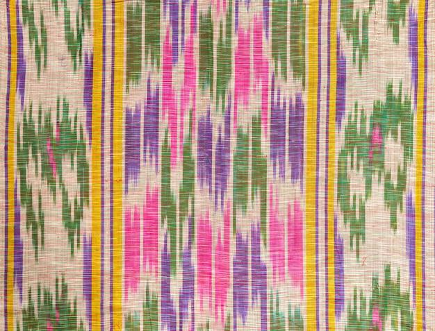 Sfondo del tessuto e del tessuto con ornamenti orientali e motivi multicolori