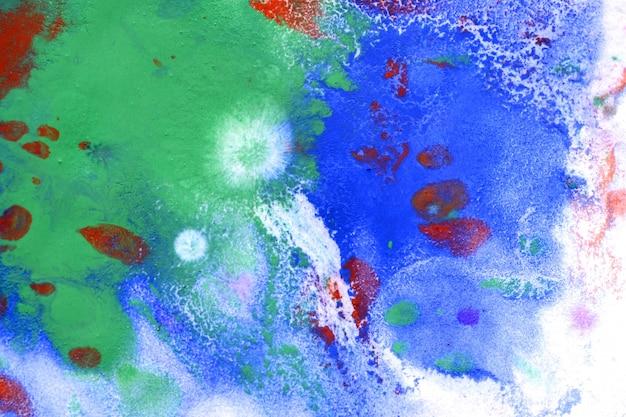 Macchie verdi e blu di sfondo sulla carta con gocce rosse