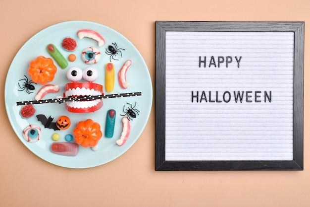 Sfondo per le vacanze di halloween layout piatto vista dall'alto un posto da copiare
