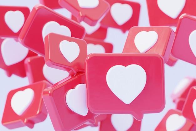 Immagine di sfondo di una notifica sui social network un simbolo un cuore con un fumetto