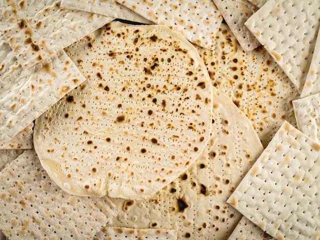 Sfondo ebraismo religioso matza festivo ebraico sulla pasqua.